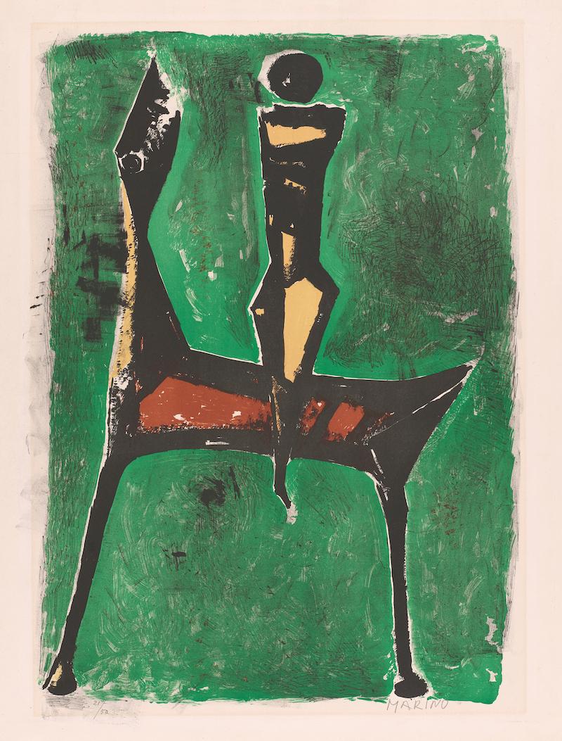 マリノ・マリーニ《緑の背景の騎手》1957年 リトグラフ <br /> ©SIAE, Roma & JASPAR, Tokyo, 2021 C3493