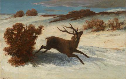 Gustave Courbet《Deer Running in the Snow》ca. 1856-67; Artizon Museum, Ishibashi Foundation