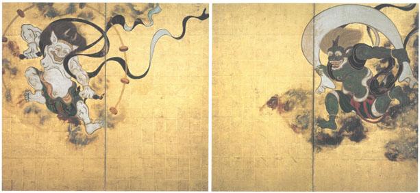 TAWARAYA Sotatsu《Wind God and Thunder God》Edo period, 17th century, Kenninji Temple, National Treasure (Second half)