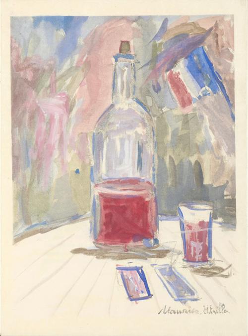 モーリス・ユトリロ《トリコロールのワイン》(ジョルジュ・デュアメルほか著『葡萄酒、花、炎』 のための挿絵)1952 年刊<br /> *「特集コーナー展示 挿絵本にみる20世紀フランスとワイン」の出品作品です。