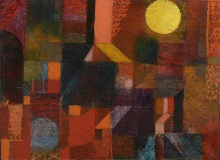 《小さな抽象的ー建築的油彩(黄色と青色の球形のある)》 1915年 油彩・厚紙 24.1×34.3cm