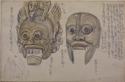 青木繁《舞楽面》1900-1903年頃 鉛筆淡彩・紙