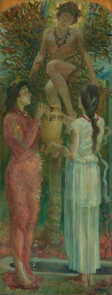 青木繁《わだつみのいろこの宮》1907年 油彩・カンヴァス(重要文化財)