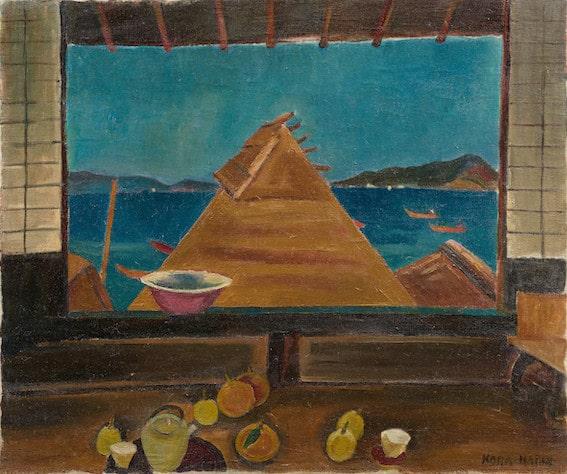 古賀春江《二階より》1922年 油彩・カンヴァス
