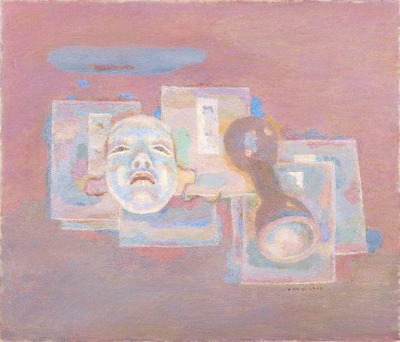坂本繁二郎《能面と鼓の胴》1962年 油彩・カンヴァス