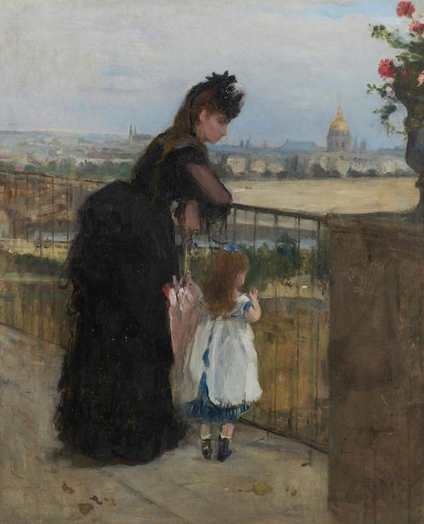 ベルト・モリゾ《バルコニーの女と子ども》1872年