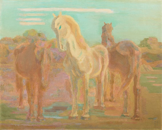 坂本繁二郎《放牧三馬》1932年 油彩・カンヴァス