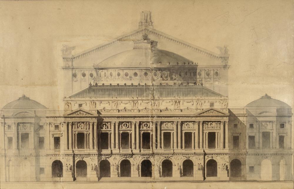 シャルル・ガルニエ《ガルニエ宮ファサードの立面図》フランス国立図書館<br /> Charles GARNIER, Front view of the Facade of the Palais Garnier, Plan Garnier O3, BnF, Music Department, BMO