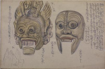 AOKI Shigeru《Sketches of Bugaku Masks》 c.1900-1903, Pencil and wash on paper<br />