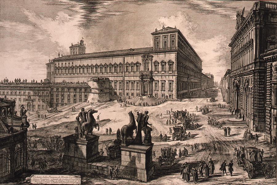 ジョヴァンニ・バッティスタ・ピラネージ《クイリナーレ広場のディオスクーリ像(『ローマの景観』より)》