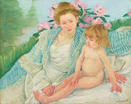 メアリー・カサット《日光浴(浴後)》油彩・カンヴァス1901年